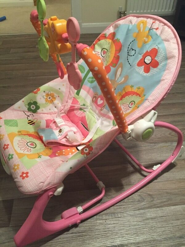 Pink Fisher Price Bunnies Infant To Toddler Rocker Bouncy Chair