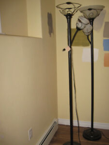 Two Stand Up Metal Floor Lamps (Wire Decor)