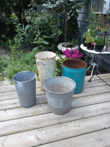 Vintage Metal Sap Buckets Potted Plants Flowers Turquoise Pail