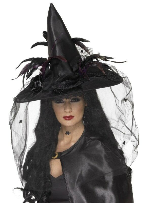 Witch Hat, Feathers and Netting Adult Womens Smiffys Fancy Dress Costume Hat