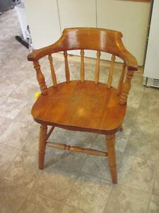 Five arm chairs, solid wood