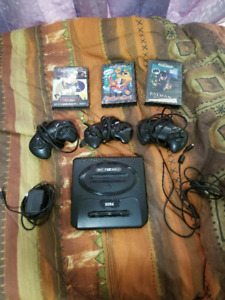 Sega Genesis with games