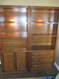 BOOKCASES WITH BAR, CABINET AND DRAWERS