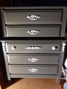 Two Baronet French Provincial Chest on Chest 5 Drawer Dressers