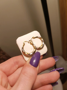10k yellow and white gold earrings