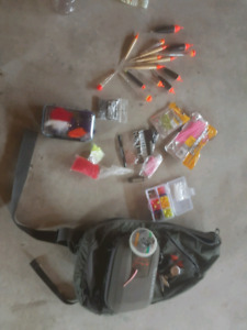 SIMMS SLING PACK AND FLOAT FISHING GEAR.