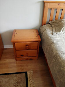 Solid Pine wood bedroom set and extra firm mattress+box spring