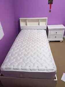 Complete Girls White Bed Set With Mattress and Side Table! Kitchener / Waterloo Kitchener Area image 4