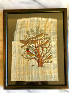 (Pre-loved) PAIR of EGYPTIAN PAPYRUS Painting Folk Art
