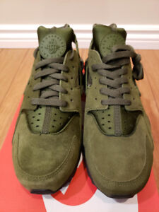 Brand New DS - Nike Huarache Olive + Suede Upper - $100