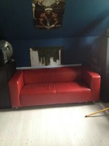 JUST LIKE BRAND NEW NO NEED FOR IT RED LEATHER OFFICE COUCH