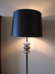 Chrome Finish Floor Lamp, Black Satin Shade