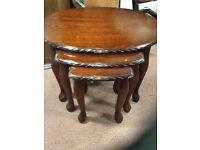 Mahogany nest of tables decorative edges