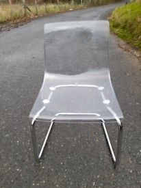 Acrylic chair with chrome legs from IKEA