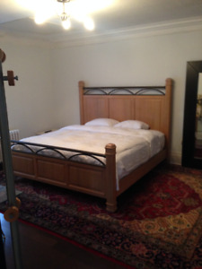 White oak king bed with quality mattress & boxspring