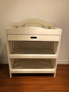 Wood Baby Change Table Painted White