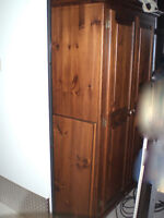 For Sale: Wood wardrobe with hanging rod