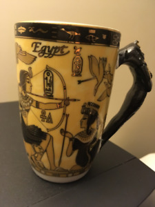 Porcelain Egyptian Mugs With Assorted Ancient Egyptian Drawings