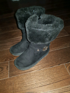 MK black suede boots for kids