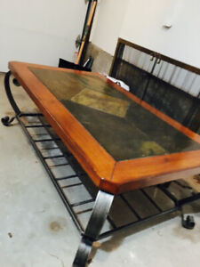 Beautiful slate, wood, & iron coffee table