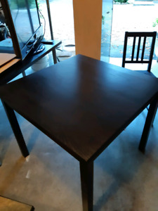 Black/Brown IKEA Table with 6 chairs