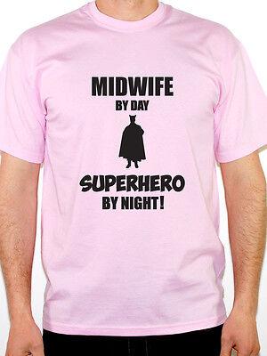 Fun Pregnancy T Shirts (MIDWIFE BY DAY SUPERHERO - Baby / Babies / Pregnancy / Fun Themed Mens)