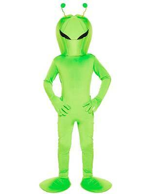 Kids Green Alien Sci-Fi Martian Costume Book Week Halloween New Fancy Dress Boys
