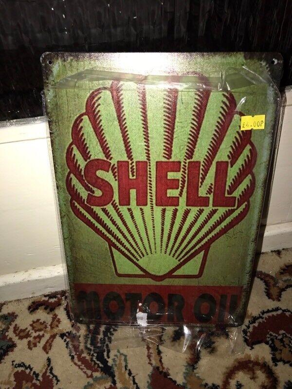 Shell metal sign
