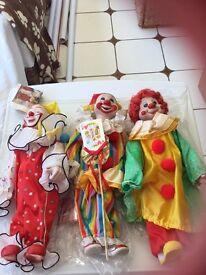 X3 colletiable heritage porcelain clowns