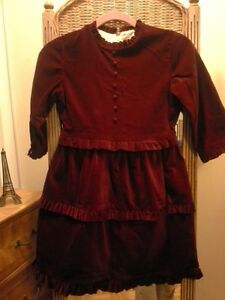 Vintage Elen Henderson Ruby Red Velvet Girls' Party Dress