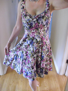 Nine West Floral Dress With Pleated Accents