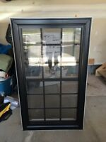 Stock Double Hung Window Black aluminium outside
