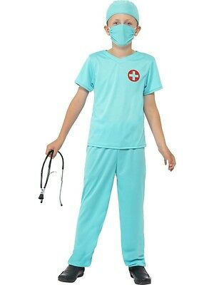 Kids Doctor Costume Surgeon Dr Doc Green Scrubs Stethoscope Girls Boys Child NEW