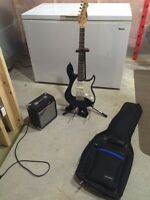 Peavey Guitar, Amp, case and stand