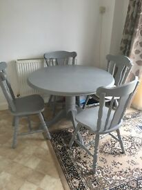 Upcycled table and four chairs