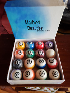 Set of pool/billiard balls, marble pattern