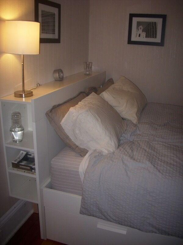 Ikea Brimnes Double Bed Headboard With Storage Shelves White In Sudbury Suffolk