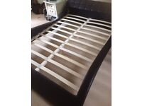 Double bed frame - leather sleigh - as good as new