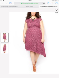 Short Sleeve Asymmetric Lace Dress 1x plus size new with tags