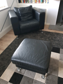Italian leather chair and matching foot stool