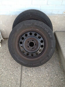2 Used Hercules Ultra Tour LE Mud & Snow Tires on Rims 195/65R15 Kitchener / Waterloo Kitchener Area image 1