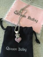 Queen baby pink pave heart necklace