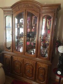 Stunning large walnut display cabinet