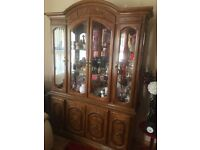 Stunning large walnut display cabinet