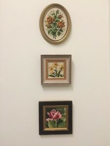Cross stitch flower in frames West Island Greater Montréal image 1