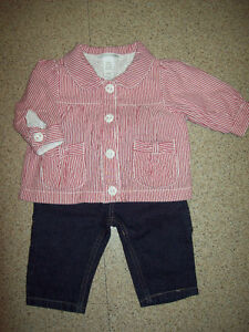 Baby 3-6 months Izod Jeans and H&M Red / White Striped Jacket