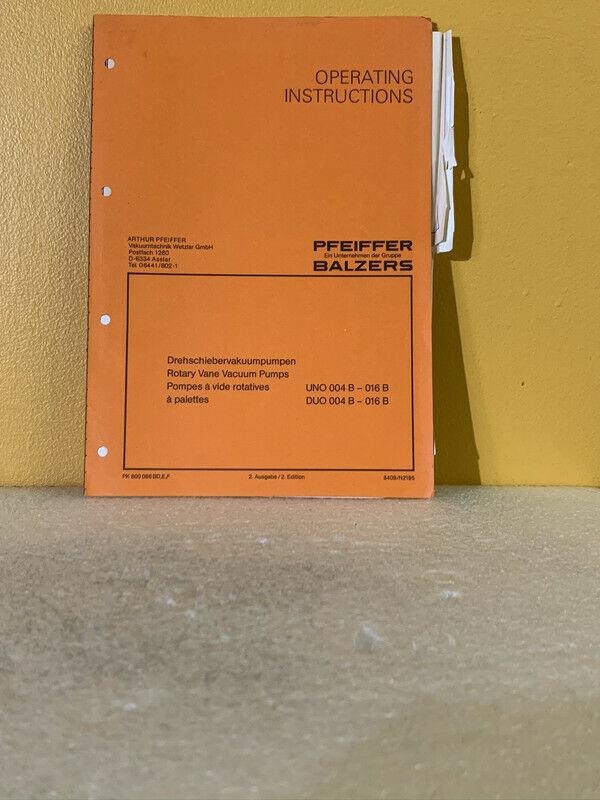 Pfeiffer Balzers PK 800 086 BD, E, F Rotary Vane Vacuum Pumps Operating Manual