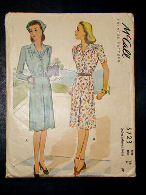 1940's Vintage McCALL #5723 Fashion PRINTED DRESS PATTERN / Size 16 / Bust 34