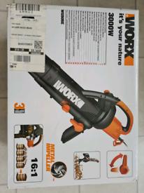 Work WG505E 3000W Trivac Blower, Mulcher & Vacuum