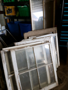 Rustic wooden windows and frames